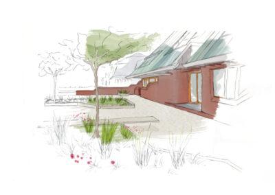 Skizze des Vorgartens